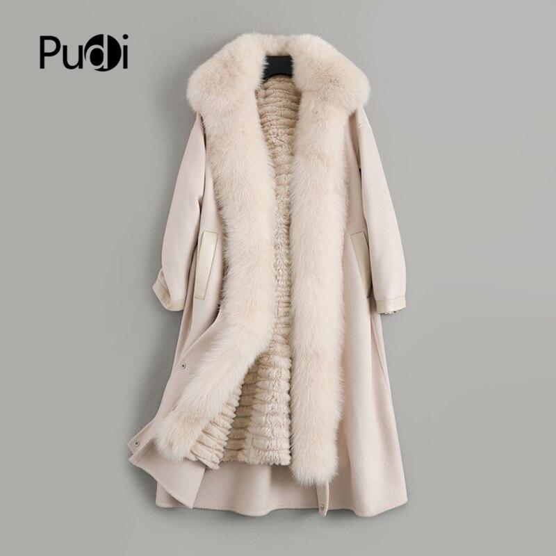 Pudi Woman Wool Blends Coat Real Rabbit Fur Lining Fox Fur Collar Winter Warm Female Overcoat Jacket ZY19127