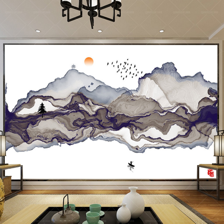 New Chinese Style Ink Landscape Wallpaper Library Bedroom Living Room Wall Wallpaper Hand-Painted Abstract Artistic Conception L