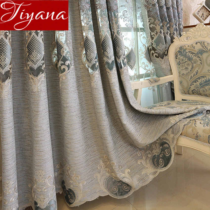 Chenille Embroidered Curtains Hollow Soluble for Living Room Luxury Bedroom Window Treatment Blackout Blind M029#30