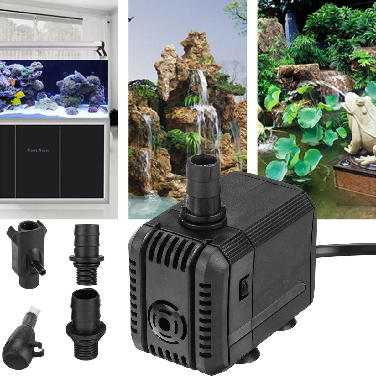<font><b>110V</b></font> Portable Aquarium <font><b>Water</b></font> <font><b>Pump</b></font> ABS Low Power Mini <font><b>Pumps</b></font> Waterproof Submersible Fish Tank Pond Pool Fountains <font><b>Water</b></font> <font><b>Pump</b></font> image