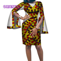 2018 African Print Dresses for Women Dashiki Bazin Riche African Bat Sleeve Dresses Plus Size Traditional Africa Clothing WY3368