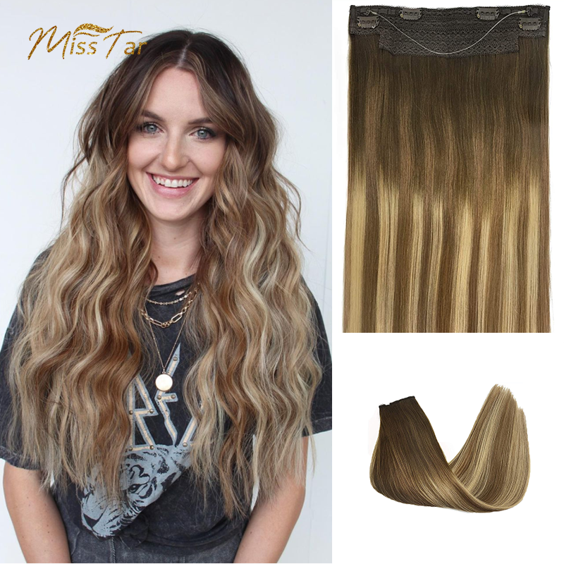 Invisible Halo Hair Extensions Human Hair Hidden Fish Wire Highlight Hairpiece Crown Wire Straight Hair Extension For Women