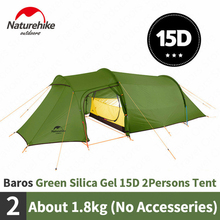 Naturehike Opalus Tunnel Tent Outdoor 2 3 Persons Camping Tent 20D Silicone/210T Polyester fabric Tent NH17L001 L free footprint