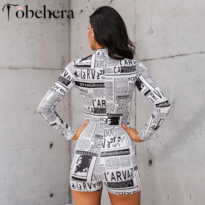 Glamaker impressão de jornal sexy curto macacão manga comprida em torno do pescoço bodycon feminino playsuit outono inverno sexy elegante macacão novo