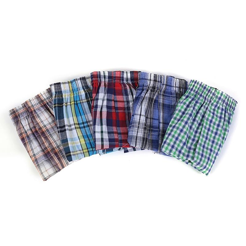 Di alta Qualità degli uomini di Marca Boxer Shorts Tessuto di Cotone 100% Plaid Classico Pettinato Maschio Underpant Sciolto Traspirante Oversize 4 Pcs