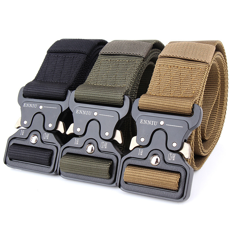 Hd282252a058b4b63a09583a699586e09y - Army Tactical Belt Military Black Metal Buckle Adjustable Length Outdoor Multi-functional Training Nylon Belt Accessories