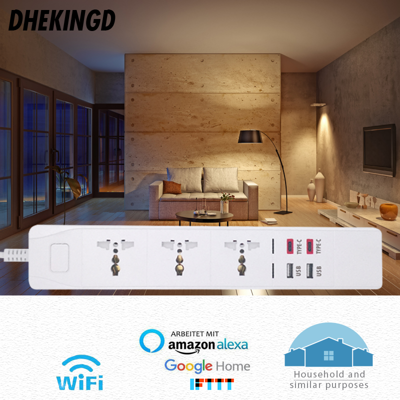 Wifi Smart Power Strip with Universal 3 Socket 2 USB 2 Type c Charging Station Work with Alexa Google Home UK AU EU US SA Plugs in Smart Power Socket Plug from Consumer Electronics