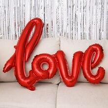 100cm list miłosny balon foliowy ślub walentynki dekoracja urodzinowa kieliszki do szampana foto budka rekwizyty Wholesle