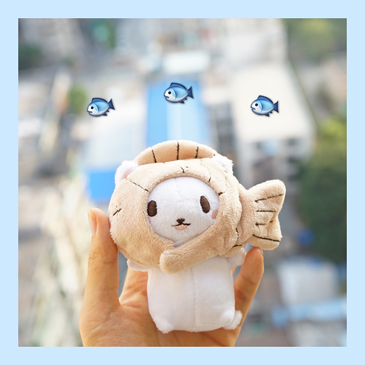 1Pc Lovely plush toy cartoon cat kitten with fish cap soft stuffed doll keychain Keyring Bags Pendant