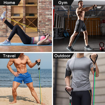 12Pcs Rubber Resistance Bands Sport Elastic Fitness Bands for Sports Bodybuilding Gym Accessories Portable Equipment 100LBS Tape 6