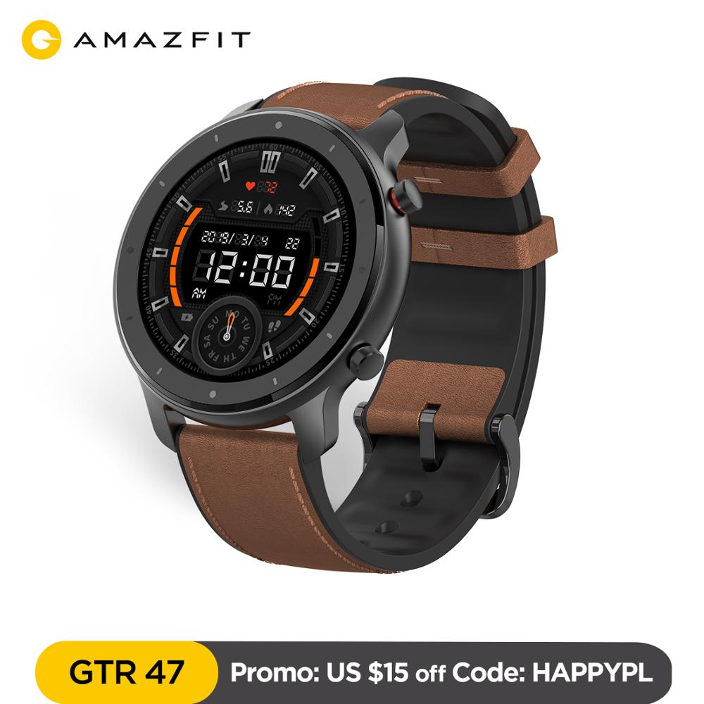 LowcyChin.pl - Global Version Amazfit GTR 47mm Smart Watch 5ATM Waterproof Smartwatch 24Days Battery GPS Music Control Leather Silicon Strap