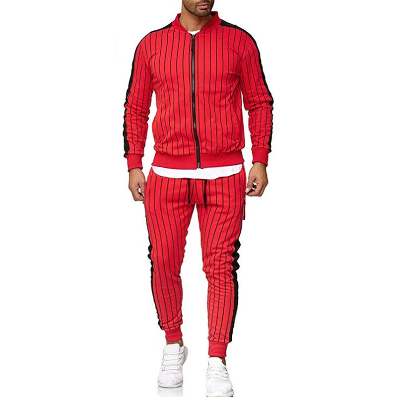 New Men Tracksuit Striped Sports Suit Zipper Set Casual Sports Set Jacket Cardigan Outdoor Sports And Leisure Runners Men'S Suit