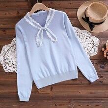 Осень зима 2021 пуловер в студенческом стиле вязаный Кружевной