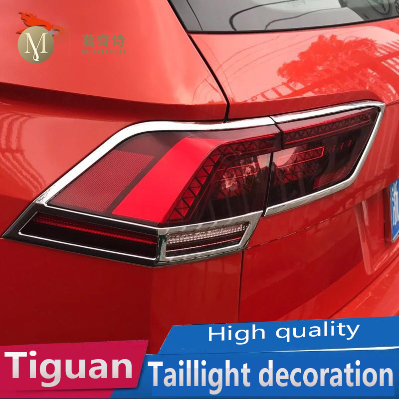 For Volkswagen <font><b>tiguan</b></font> 2017 2018 <font><b>2019</b></font> taillight frame rear light decoration tail light trim strip Car Exterior Chromium Styling image