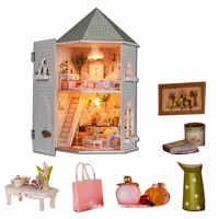 Grande maison de poupée deux couches bricolage maison de poupée grandes maisons de poupée en bois miniature maison meubles kit cadeaux d'anniversaire casas en miniatura