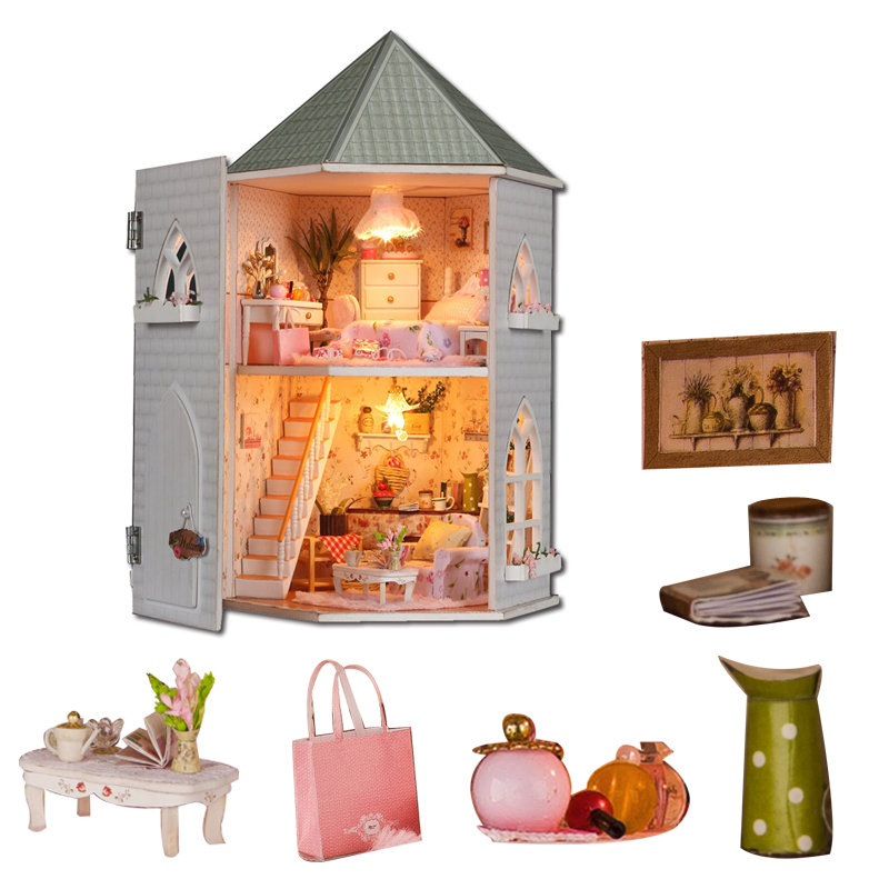 Big Doll House Two Layer DIY Dollhouse Large Wooden Doll Houses Miniature House Furniture Kit Birthday Gifts  Casas En Miniatura