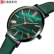 CURREN Fashion Luxury Watches for Women Malachite Green Quartz Dress Bracelet Wristwatch with Leather Female Clock