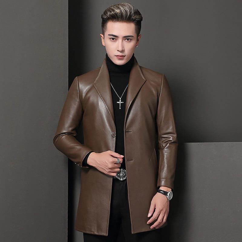 Genuine Leather Jacket Men Sheepskin Coat Spring Autumn Windbreaker Long Overcoat Blouson Cuir Homme T-68-8009 KJ1613