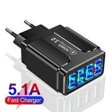 4 Ports USB Fast Charger Quick Charge 3.0 4.0 48W LED Universal Wall Mobile Phone Tablet Chargers Fast Charging For iPhone 12