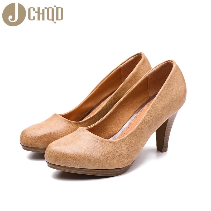 Image 2 - JCHQD 2020 New  Women Med Heels  High Quality Shoes Classic Pumps  Shoes for Office Ladies Shoes European size36 41 Women shoesWomens  Pumps