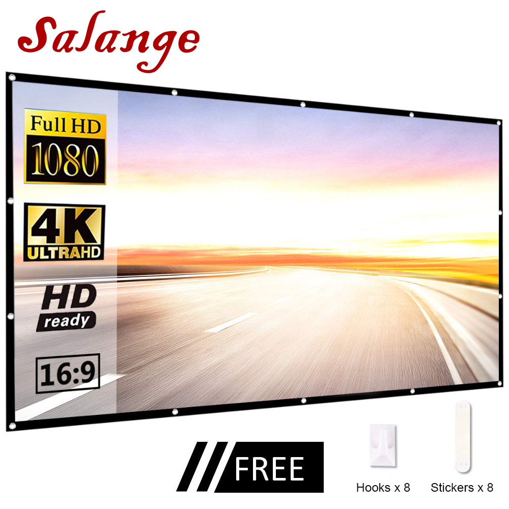 Salange Portable Projector Screen,60 100 120 inch 16:9,Polyester Outdoor Movie Screen For Travel Home Theater LED DLP Projektor