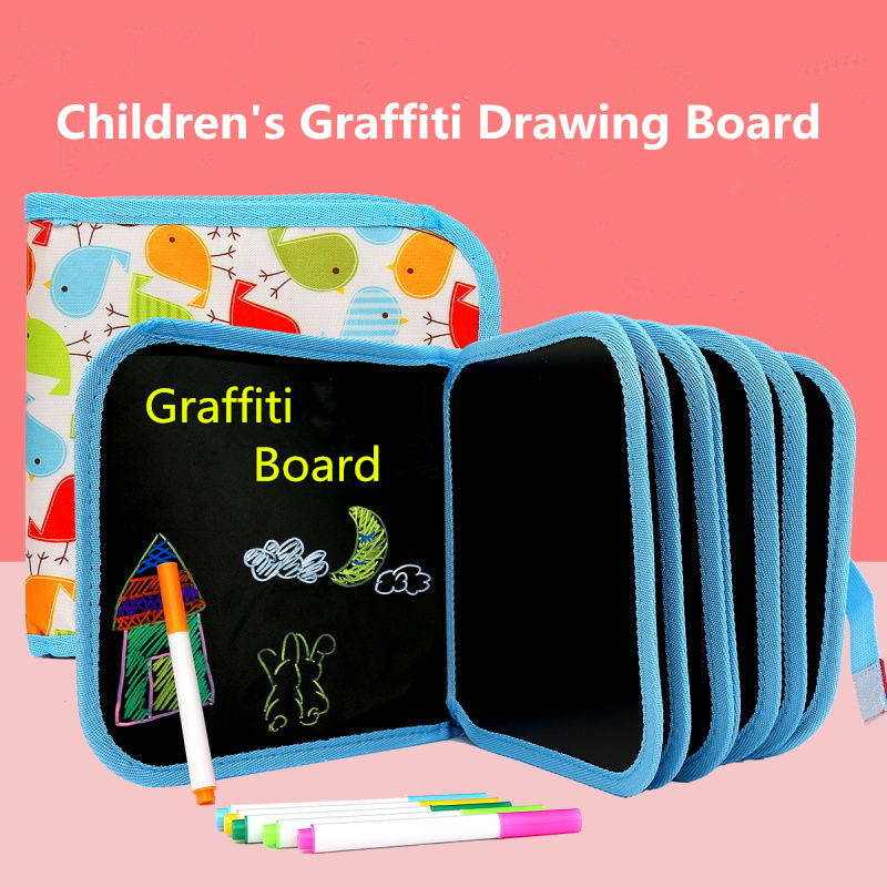 1 Set Portable Soft Chalk Drawing Board Baby DIY Drawing Book Coloring Book With Water Chalk Kid Painting Blackboard