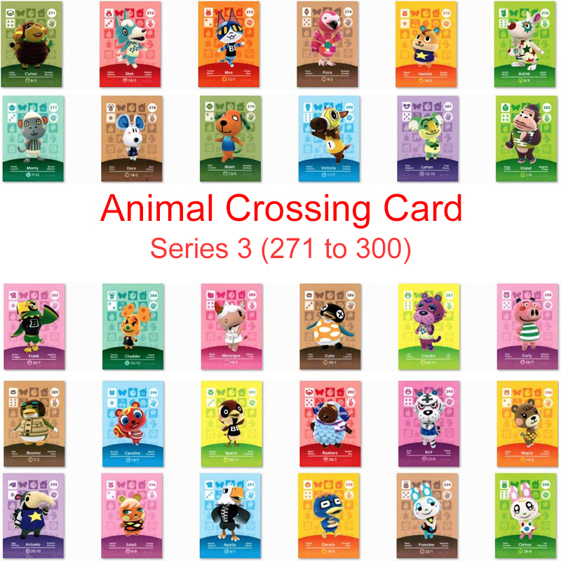 Series 3 (271 To 300) Animal Crossing Card Amiibo Card Work For NS Switch Game New Horizons Merengue Maple Apollo Francine Card