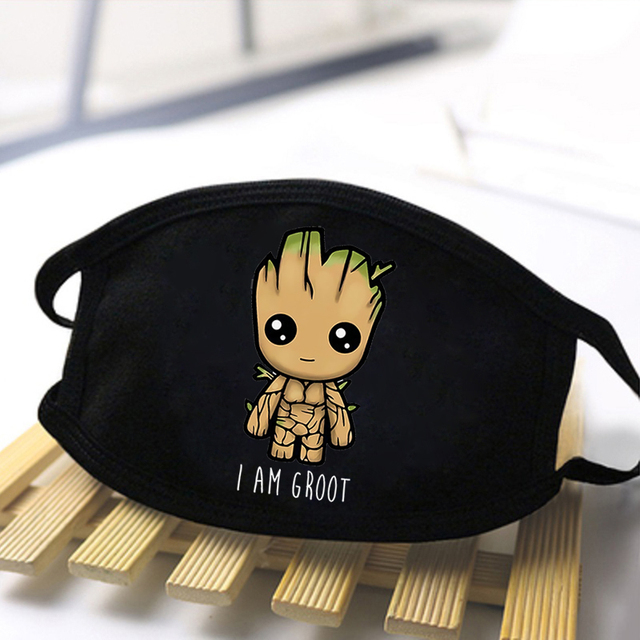 Marvel Cute Groot Print Face Mask The Avengers Cartoon Black Washable Half Face Mouth-Muffle High Quality Reusable Outwear Maske 1
