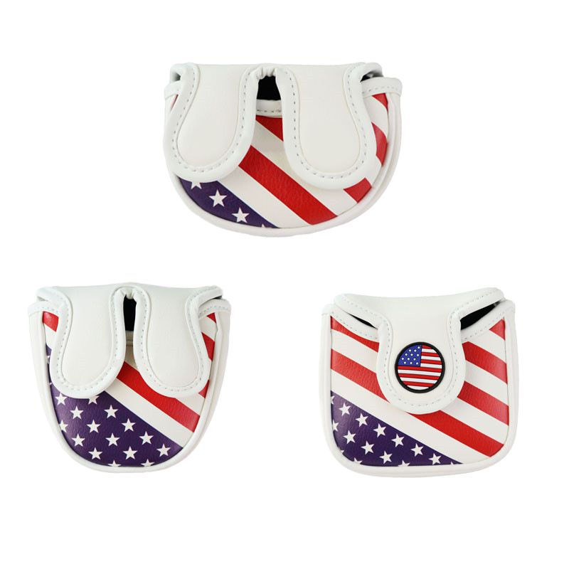 Golf Putter Cover Mallet Headcover PU Waterproof Magnetic Pattern Golf Club Covers Square Shape Putter