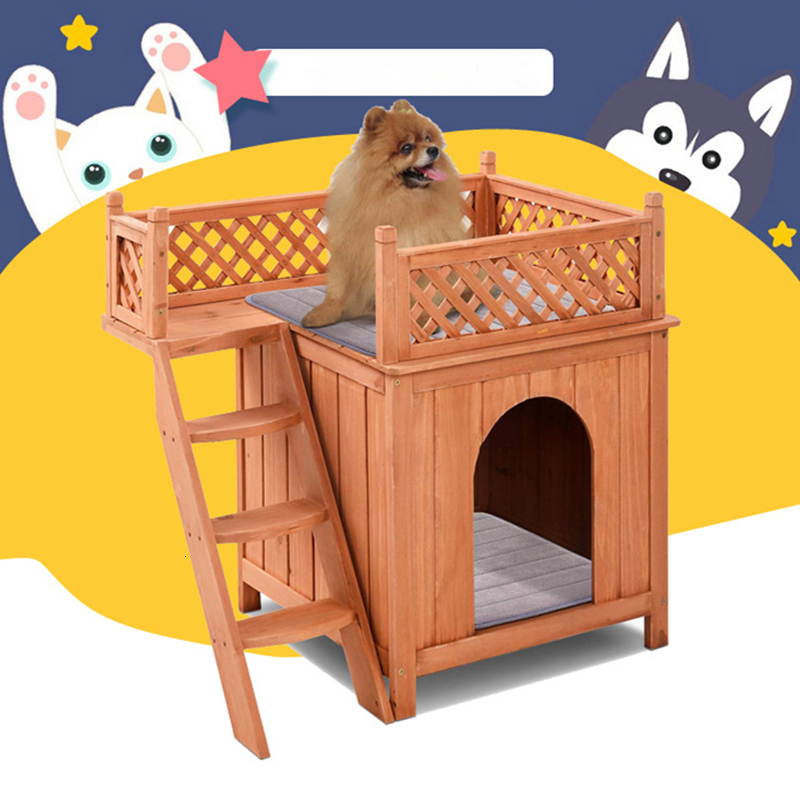 Wooden Pet House Cat Dog Bed Room For Indoor Outdoor Use Puppy Condos With Stairs Luxury Balcony M6160 image