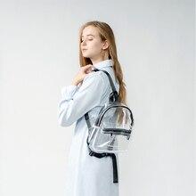 투명 PVC 여성 배낭 캔디 컬러 지퍼 방수 여성 배낭 분명 플라스틱 일일 학교 가방 쇼핑 비치
