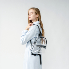 Transparent PVC Womens Backpack Candy Color Zipper Waterproof Females Rucksack Clear Plastic Daily School Bag Shopping Beach