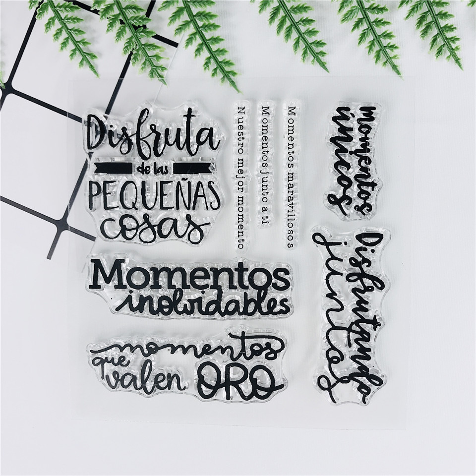 Spanish Words NEW Clear Stamps For Scrapbooking/Craft Supplies Bullet Journal Background  Rubber Stamp Sentiment Card Making