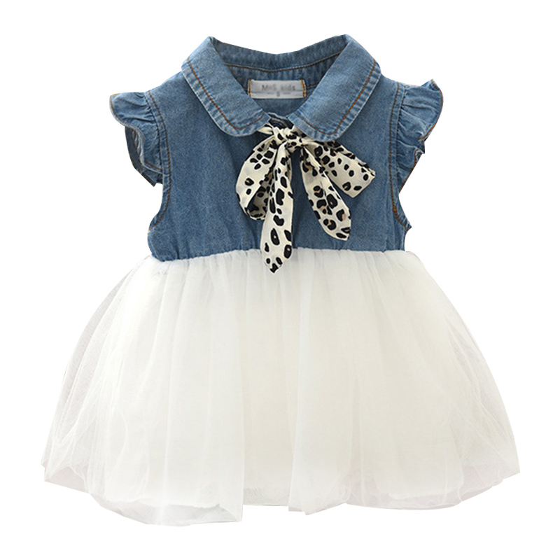 Girls Dress Scarf-Decoration Stitching Korean-Style Denim Fashion Summer Mesh Cute Children
