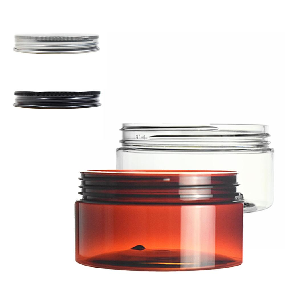 200ml Clear/amber Round Pet Jar Bottle Container With Sliver/black Aluminium Cap Lids For Cosmetic,food, Packaging,