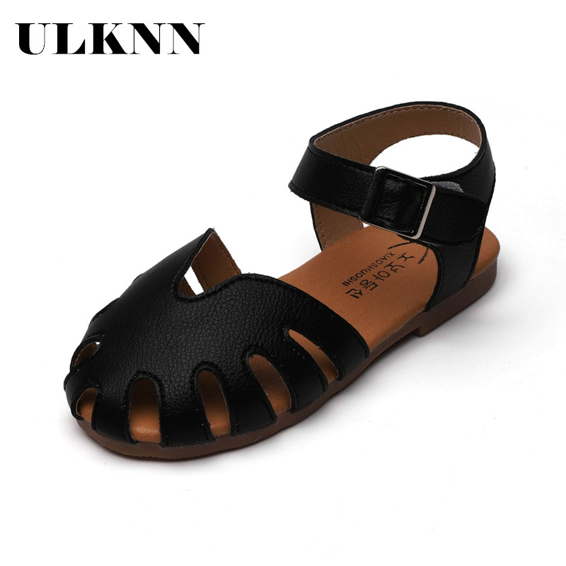 ULKNN New Toddlers Baby Girl Sandals Kids Summer Shoes Cut-outs Breathable Soft Leather Princess Children Sandals Girls 21-30