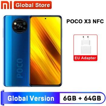 Перейти на Алиэкспресс и купить Глобальная версия смартфона Xiaomi POCO X3 NFC 6 Гб 64 Гб 6 ГБ 128 ГБ Восьмиядерный Snapdragon 732G 64-мегапиксельная четырехъядерная камера 6,67 дюйм120 Гц 5160 мАч