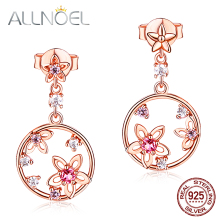 ALLNOEL 925 Sterling Silver Earrings Pink Tourmaline Gemstone Elegant Flower Earrings For Women Rose Gold Wedding Luxury Jewelry