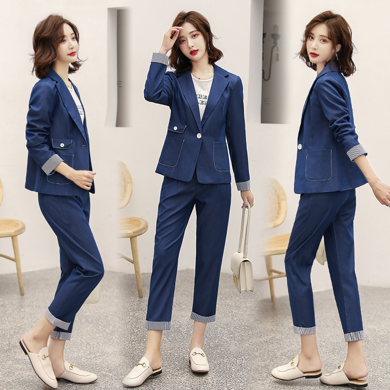 Women's suit 2019 autumn new casual fashion temperament Slim solid color single buckle small suit trousers two-piece 23