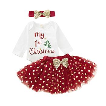 2021 ubrania świąteczne noworodek dziewczynek moje 1st boże narodzenie z długim rękawem pajacyki Tutu spódnica ubrania strój 3 sztuk tanie i dobre opinie Emmababy COTTON W wieku 0-6m 7-12m 13-24m CN (pochodzenie) Kobiet Na co dzień Z okrągłym kołnierzykiem Guzik obleczony