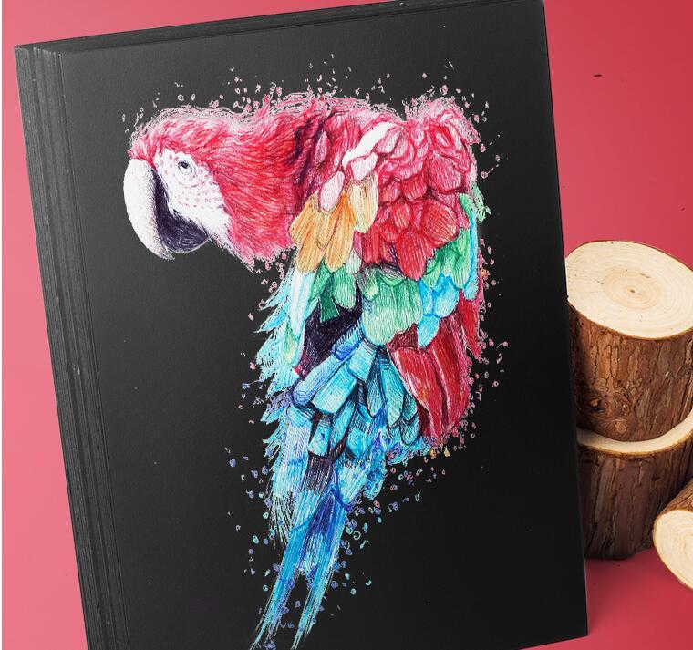 Купить с кэшбэком A4 Black Craft Paper Card Making Cardboard Thick Kraft Paper Handmade Art Drawing DIY Graffiti Brown White Blank Card Paper 450g