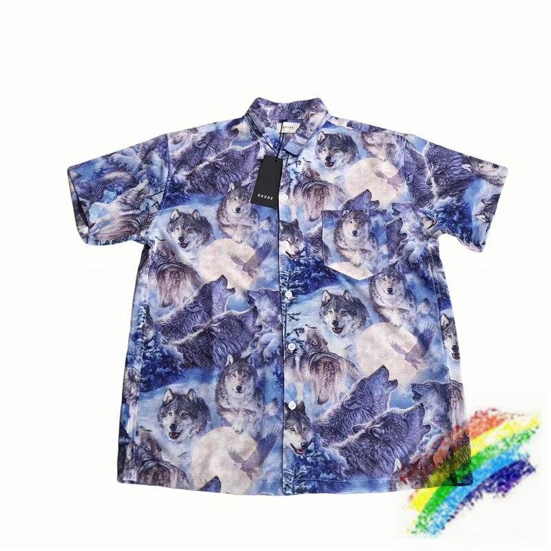 Full Wolf Printing RHUDE Shirt Men Women 1:1 High Quality Streetwear Summer Style Top Tees RHUDE Shirts