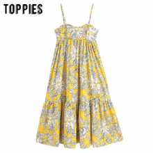 Floral Printing Vacation Camisole Dress 2020 Summer Dress Women Beach Sleevelss Blouses