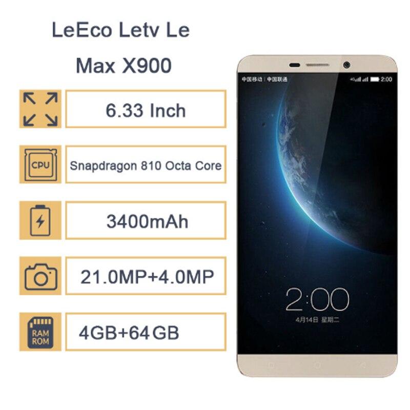 LeEco – téléphone portable Letv Le Max X900, écran de 6.33 pouces, Smartphone, mémoire de 4GB et 64GB, Snapdragon 810 Octa Core, NFC, 2560*1440, caméra de 21mp, reconnaissance d'empreintes digitales