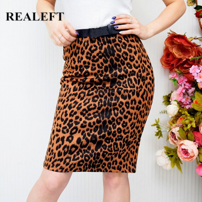 REALEFT New Autumn Winter Suede Floral/Leopard/Snake Vintage Pencil Midi Skirts High Waist Sheath Wrap Sexy Skirts Office Lady