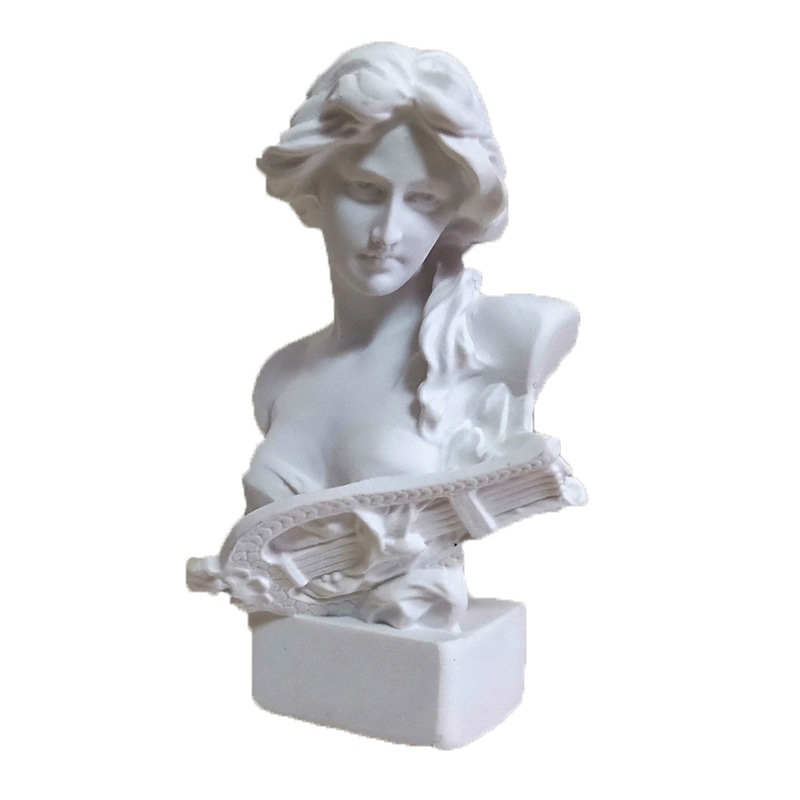 Nordic David Chopin Brutus Piano Girl Crown Goddess Head Portraits Gypsum Sculpture Living Room Art Decorations X3243