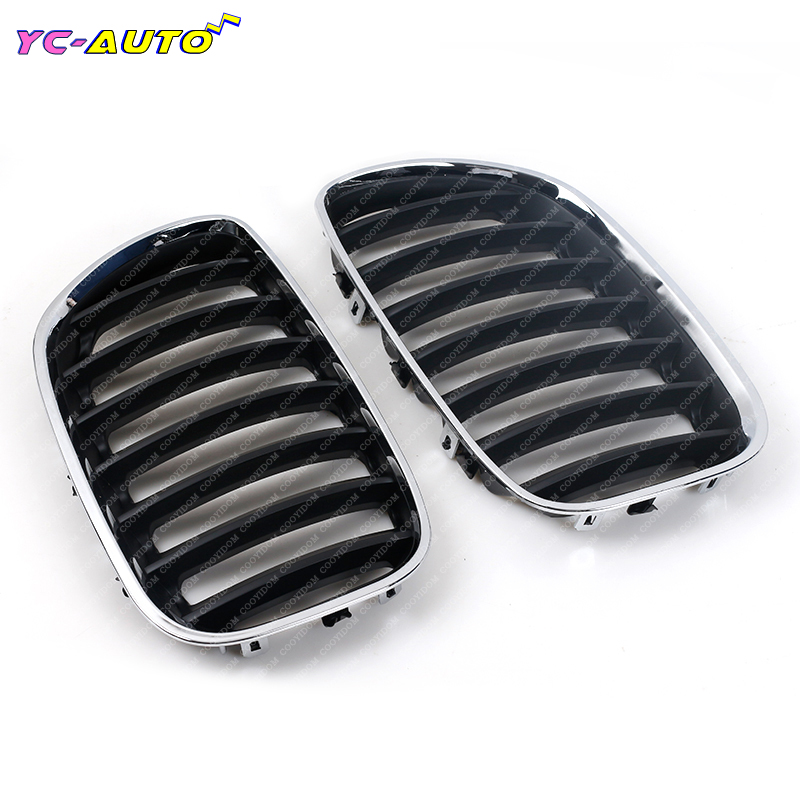 Left Right Chrome Black Front Hood Bumper Kindey Grille Grill For BMW X5 E53 2000 2001 2002 2003 2004 2005 2006 51137113733