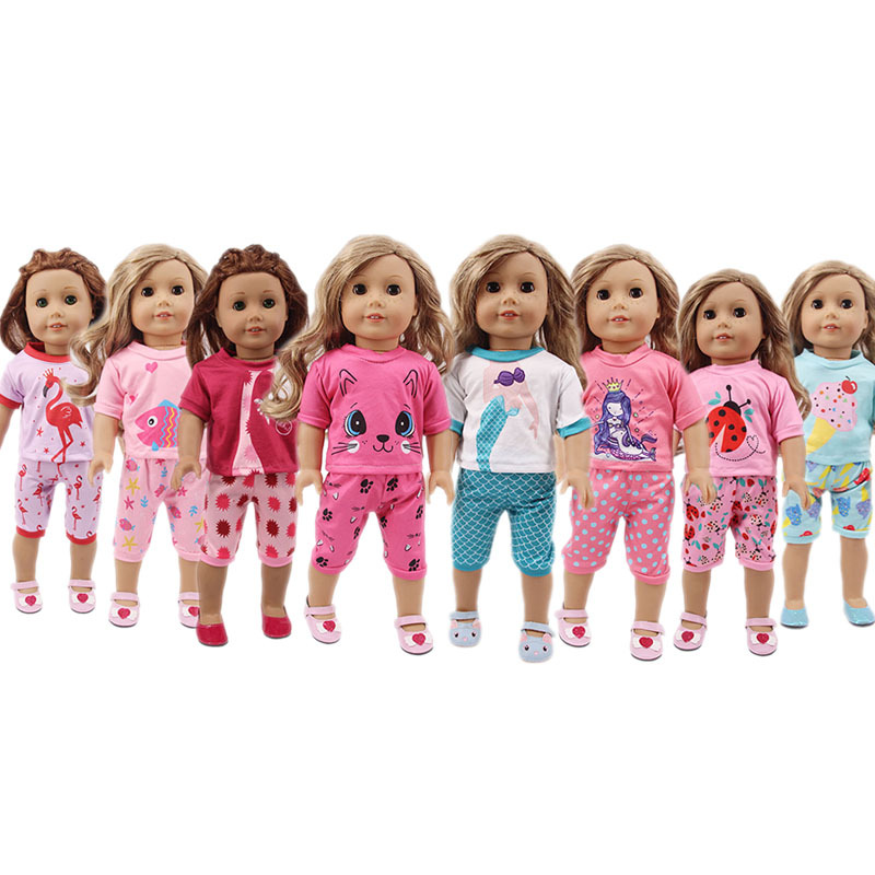 18 Inch American Doll Mermaid Cat Animal Shirt Short Pants Baby New Born Dolls Clothes Outlet Girl Gift
