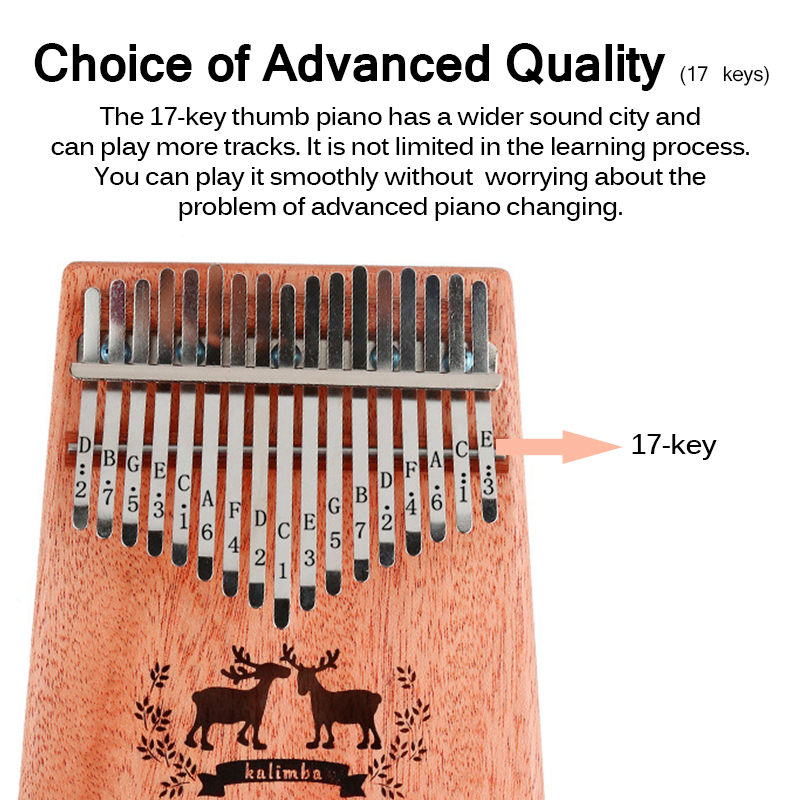 17 Keys Kalimba Thumb Piano Music Wood Mahogany Kalimba Musical Instrument With Learning Book Tune Hammer For Beginner Learner Piano Aliexpress