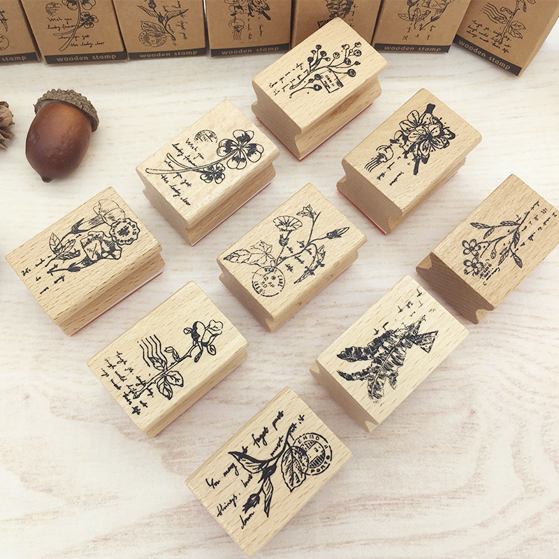 Vintage Stamps Wooden Rubber Stamps With Flower Animal For Letters Diary Craft Scrapbooking